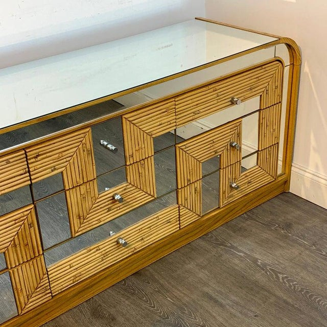 Metal Fabulous Midcentury Mirror Inlaid Segmented Bamboo Dresser or Credenza For Sale - Image 7 of 12