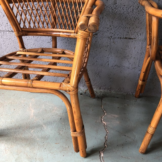 1980s Boho Chic Rattan Fan Peacock Chairs - a Pair For Sale - Image 11 of 13