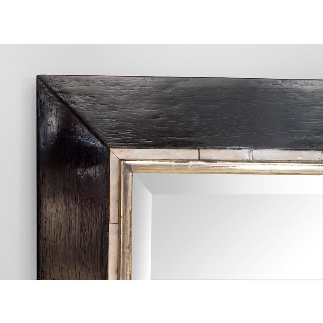 Art Deco (Austrian) large ebonized rectangular bevelled glass mirror with silver molding and pearl veneer trimmed edge to...