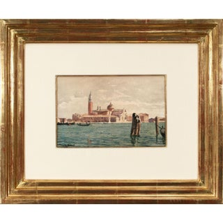 """Circa 1887 """"View of San Giorgio Maggiore (Venice)"""" Impressionist Watercolor Painting by Róbert Nádler, Framed For Sale"""