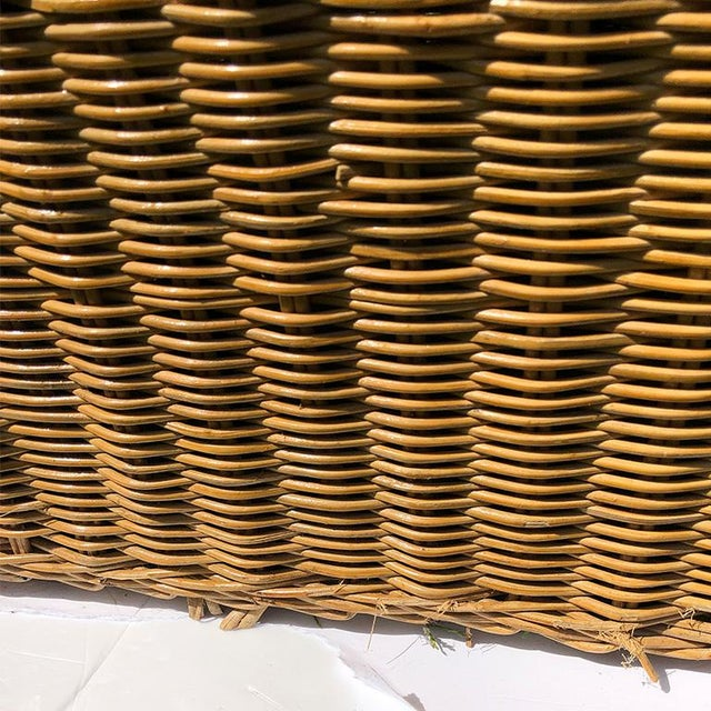 Round Wicker Bamboo Rattan Trompe l'Oeil Ghost or Draped Lounge Set 3 Pieces 1970s For Sale - Image 11 of 12
