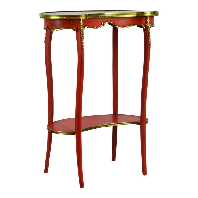 French Provincial Painted & Bronze-Mounted Kidney Shape Accent Table For Sale