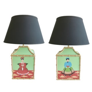 Dana Gibson Custom Painted Pagoda Lamps - a Pair For Sale