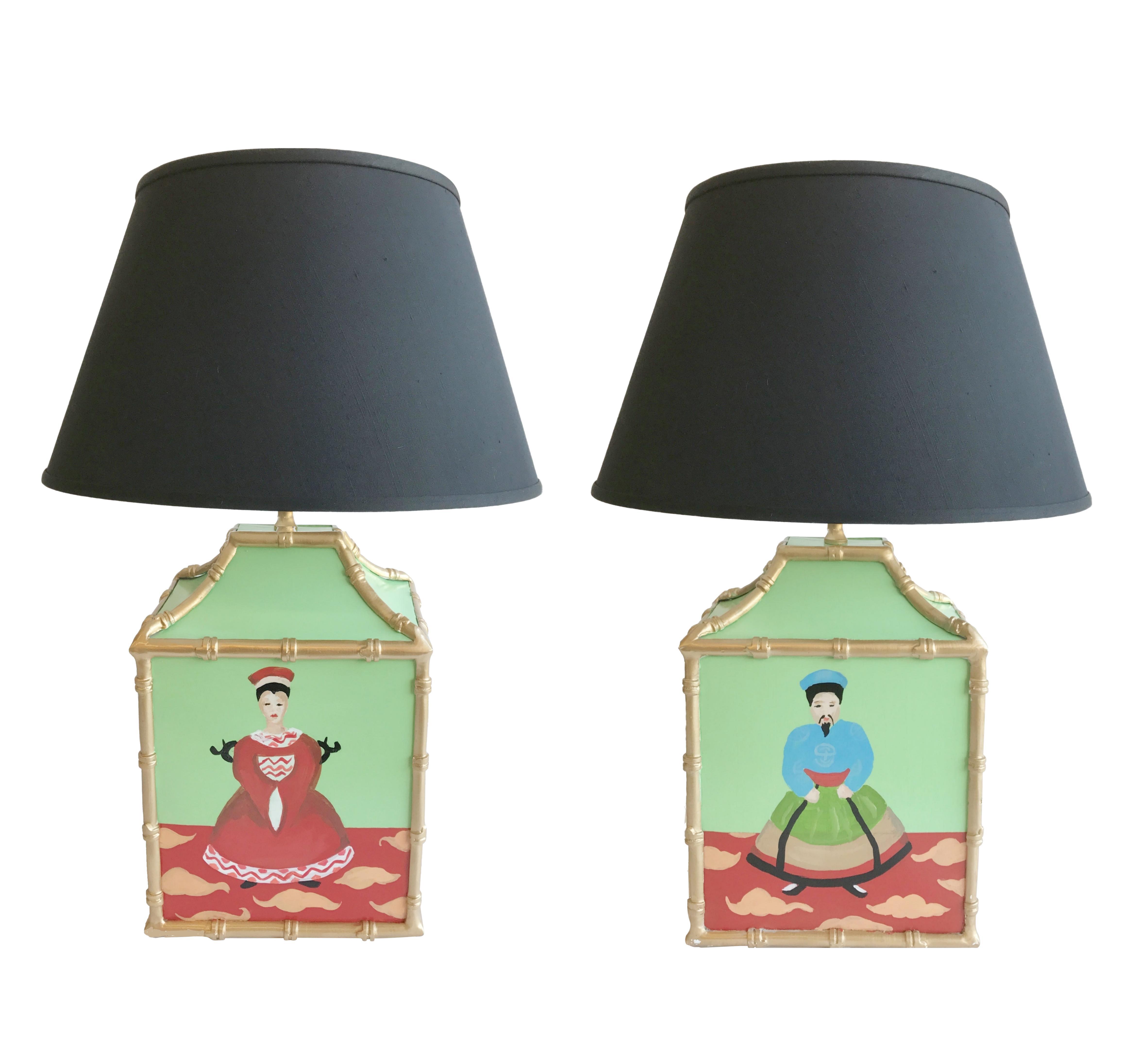 Dana Gibson Custom Painted Pagoda Lamps   A Pair