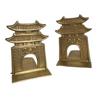 Brass Pagoda Bookends - a Pair