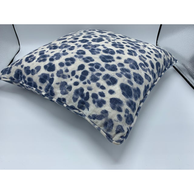 Early 21st Century Thibaut 'Panthera' Blue and White Panther Motif on Linen Pillows, Pair For Sale - Image 5 of 8