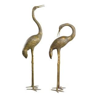 Large Mid-Century Brass Crane Sculptures - a Pair For Sale