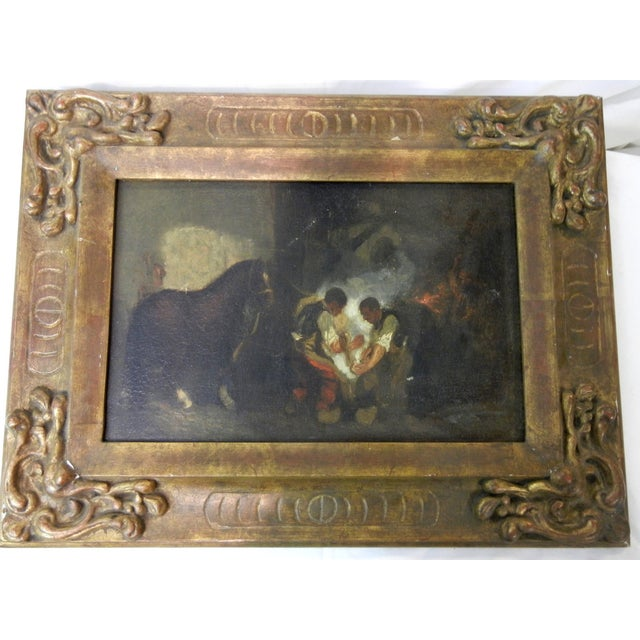 Canvas Antique Spanish Oil on Canvas Painting of Blacksmiths in Antique Carved Wooden Frame For Sale - Image 7 of 7
