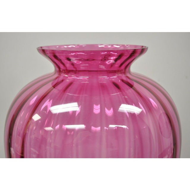 """Contemporary Oversized Large Modern Pink Hand Blown Ribbed Glass 29"""" Vase For Sale - Image 4 of 11"""