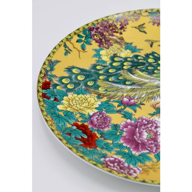 Vintage Asian Modern Canary Yellow Ceramic Peacock Charger For Sale In Tulsa - Image 6 of 12