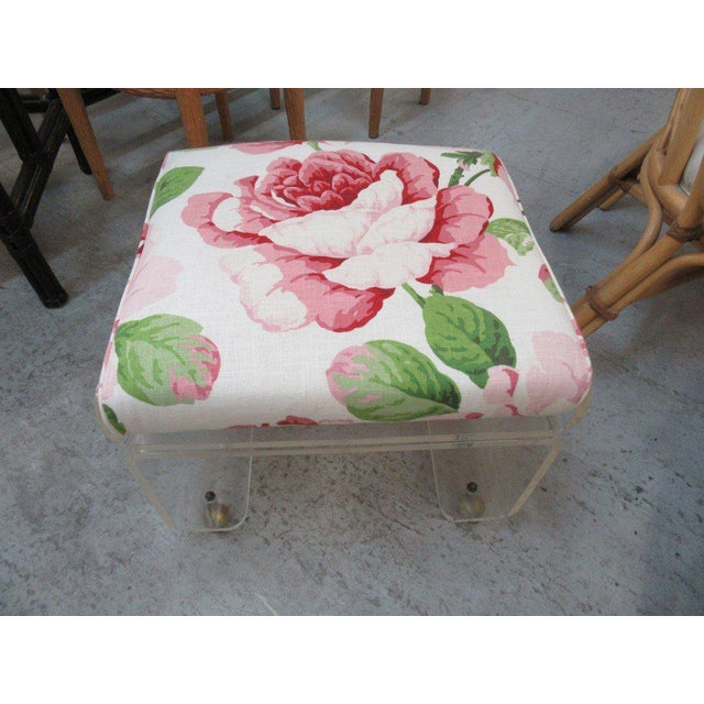 Upholstered Lucite Bench Stool - Image 4 of 5