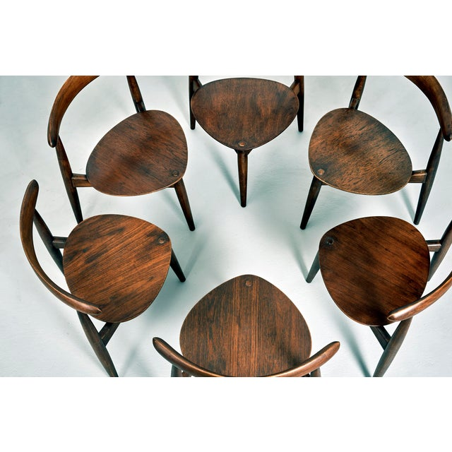 Fritz Hansen Hans Wegner for Fritz Hansen Heart Dining Set With 6 Chairs, Circa 1950's For Sale - Image 4 of 7