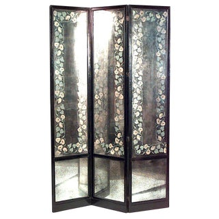 American 1940s Floral Smoked Glass Three Fold Screen For Sale