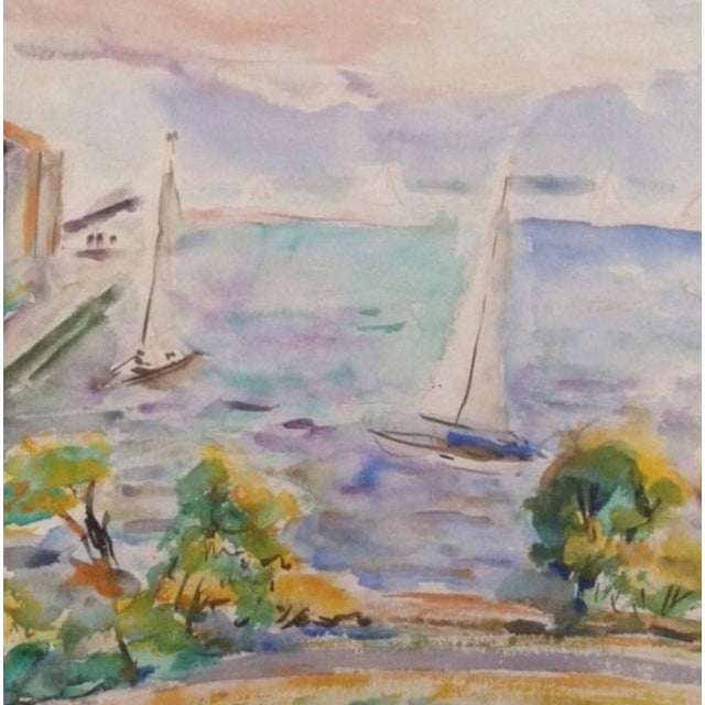 Americana 1950s Esther Landis Double Sided Chicago Pier Painting For Sale - Image 3 of 6