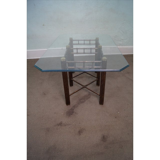 Faux Bamboo Tortoise Shell Painted Dining Table - Image 6 of 10