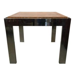 Milo Baughman Chrome and Burlwood Side Table