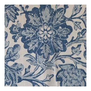 """Designer Bennison """"Matisse"""" Blue and White Linen Fabric- 1 1/4 Yards"""