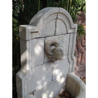Carved Limestone Rams Head Wall Fountain From France Preview