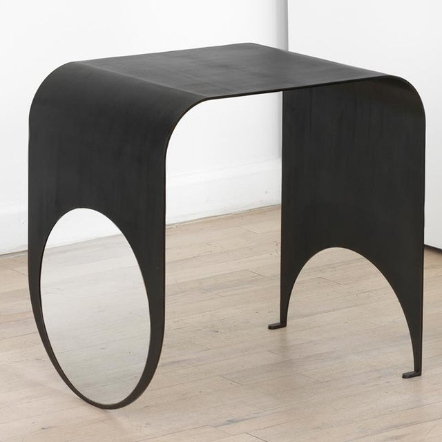 Contemporary Blackened Steel and Polished Steel Thin Table 1 For Sale In New York - Image 6 of 6