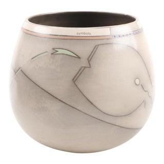 Vintage Abstract Ceramic Vessel Vase For Sale