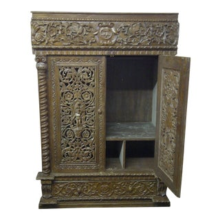 Ornate Heavily Carved Large Decorative Cabinet - 2 Door / 1 Drawer For Sale