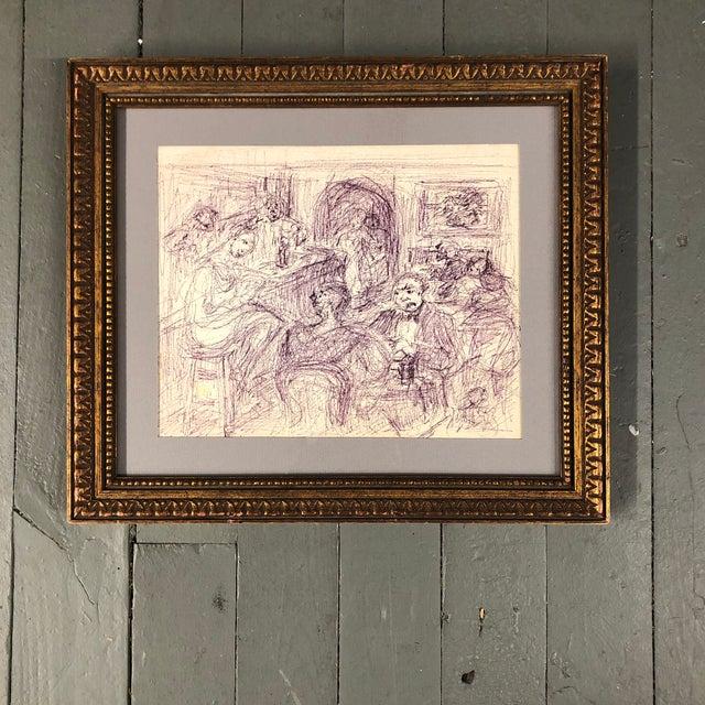 Paper Original Vintage Ink Drawing Interior Bar Scene W/ Figures For Sale - Image 7 of 7