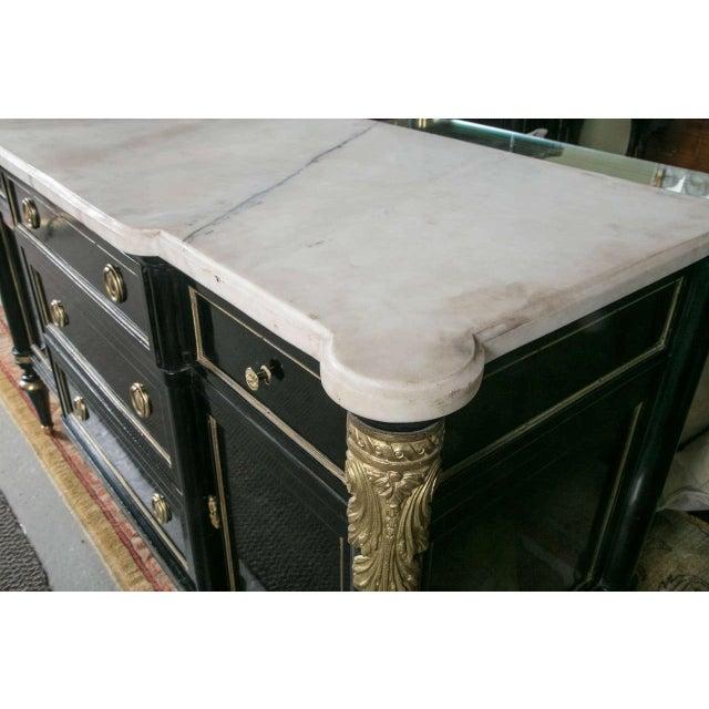 Black Maison Jansen Ebonized Marble Top Commode For Sale - Image 8 of 11