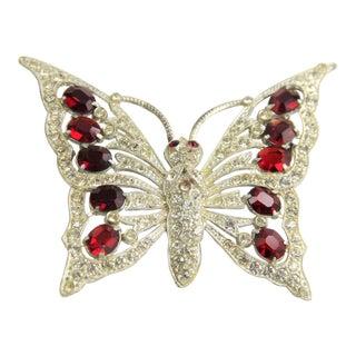 Staret Red Rhinestone Pot Metal Butterfly Brooch For Sale
