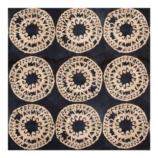 Justina Blakeney Lakai Printed Cotton and Linen Fabric, Indigo For Sale