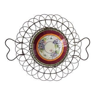 Antique French Porcelain Saucer in Wire Basket Holder For Sale