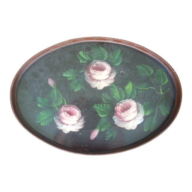 Vintage Oval Wooden Tole Tray For Sale