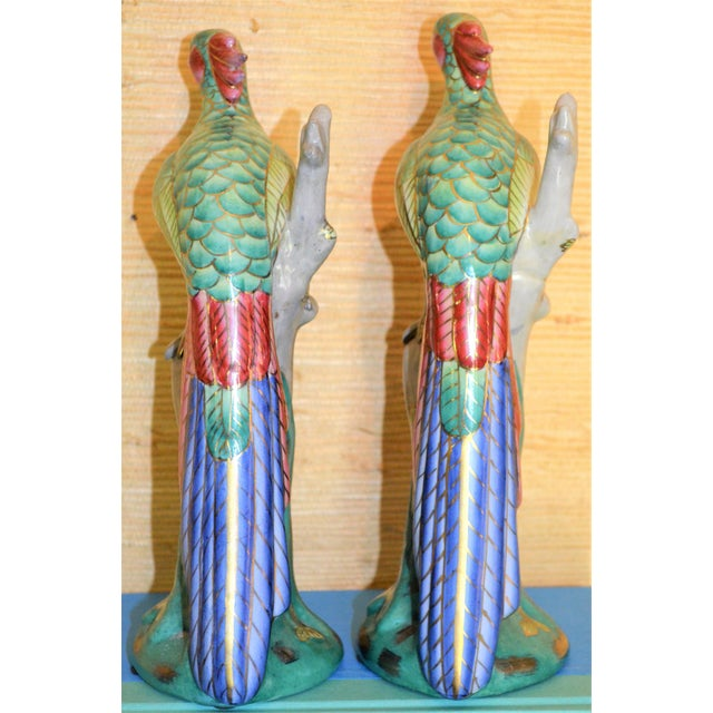Chinese Export Porcelain Pheonix Bird Figurines - a Pair For Sale - Image 11 of 13
