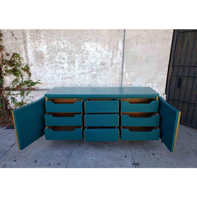 9 drawers of dark teal heaven! This American of Martinsville dresser has been restored to this bodacious dark teal with...