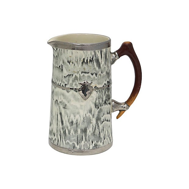 1930s English Silver Shield Faux Bois Jug For Sale - Image 4 of 4