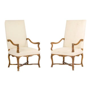 1900s Vintage French Walnut Armchairs With Curved Armrests - a Pair For Sale