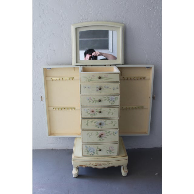 Antique White 1950s Cottage Deluxe Tall Jewelry Chest For Sale - Image 8 of 10