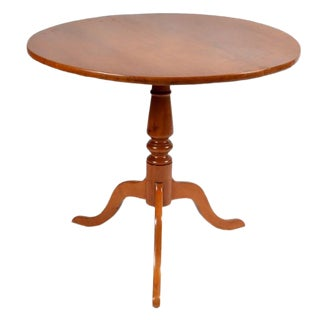 Antique Traditional Curly Maple Tilt-Top Round Table For Sale