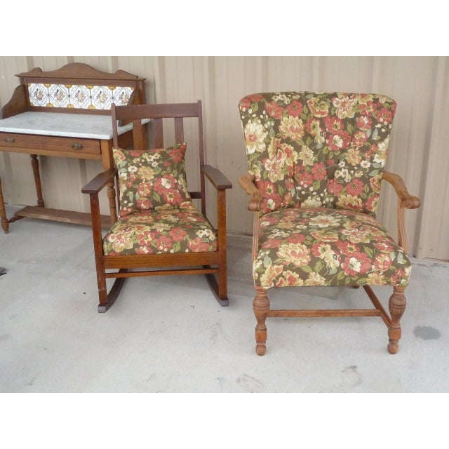 Stripped and refinished the walnut frame of the tufted chair, repadded, and reupholstered in a beautiful, neutral floral...