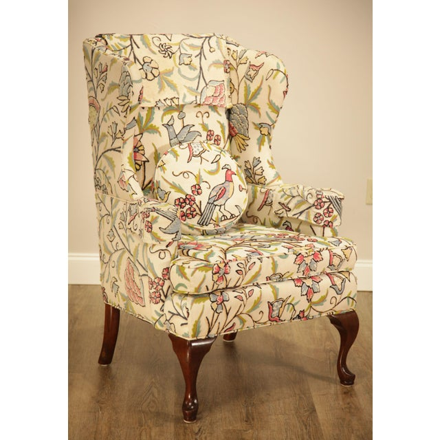 Vintage Mahogany Queen Anne Crewelwork Wing Chair Chairish