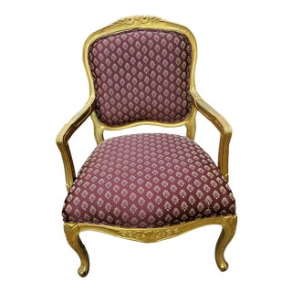 Vintage French Louis XV Style Arm Chair For Sale