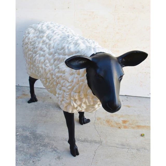 Mid 20th Century Vintage Metal Life-Size Sheep Lamb Garden, Patio, Lawn or House Statue For Sale - Image 5 of 13