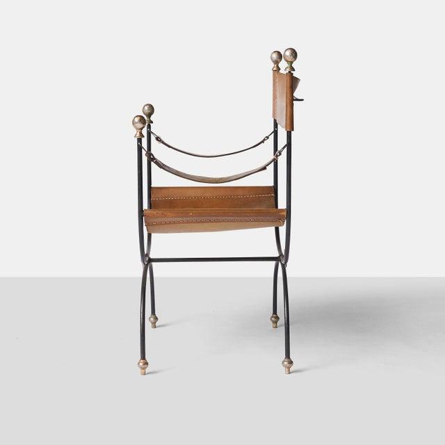 Jacques Adnet safari chair and ottoman set - Image 4 of 8