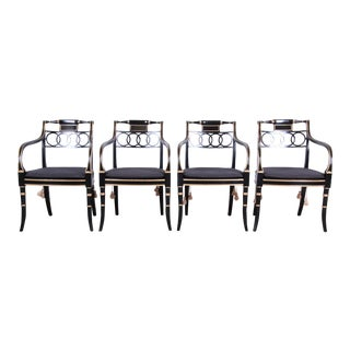 Baker Furniture Regency Style Ebonized and Gold Gilt Armchairs - Set of 4 For Sale