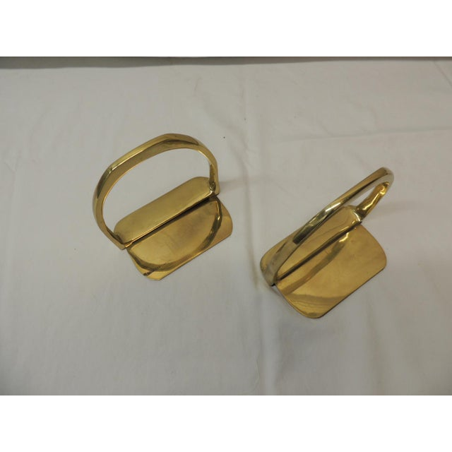 Mid-Century Modern Pair of Brass Hermes Style Horse Saddle Stirrups Bookends For Sale - Image 3 of 5