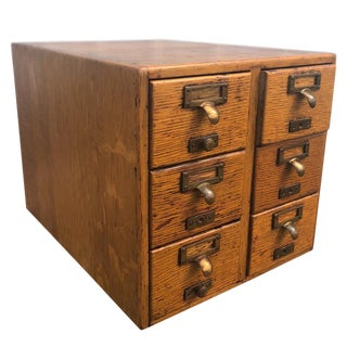 Antique Arts & Crafts Mission Oak Apothecary Library Desk Top File Cabinet