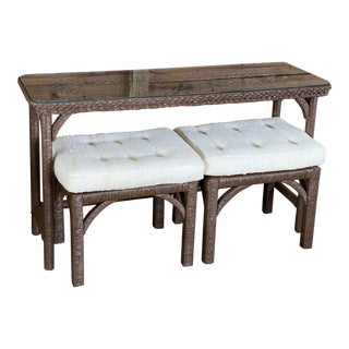 Vintage Lane Venture Wicker Wrapped Console and Ottomans For Sale