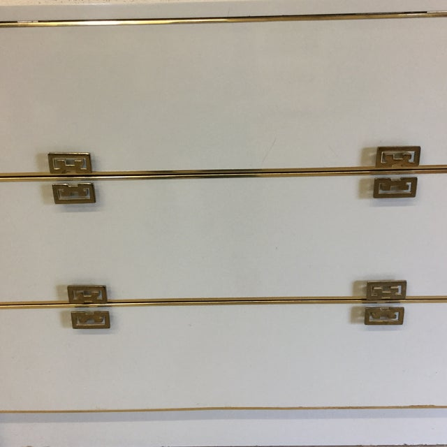 White Lacquer 6 Drawer Dresser With Greek Key Brass Pulls For Sale - Image 4 of 10