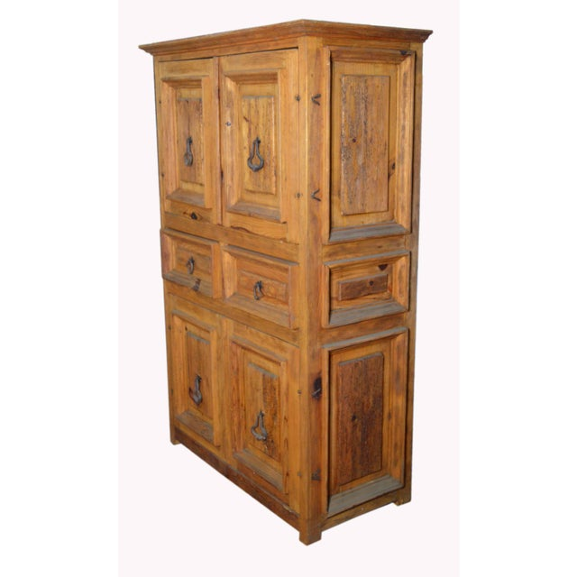 Mid 20th Century Vintage Natural Wood Indonesian Armoire For Sale - Image 5 of 8