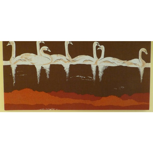 Vintage 1970s Fabric Art of Graceful Swans - Image 5 of 7