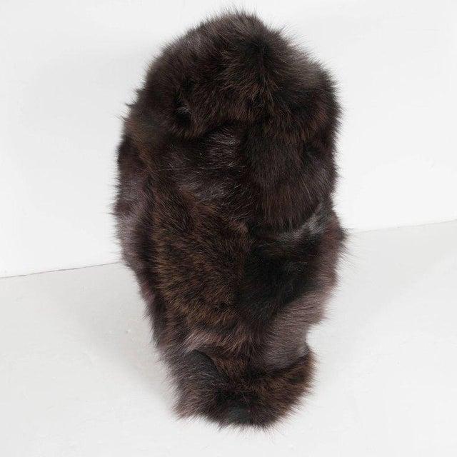Art Deco Luxurious Custom New Handmade Fox Fur Pillows in a Stunning Onyx Shade For Sale - Image 3 of 10